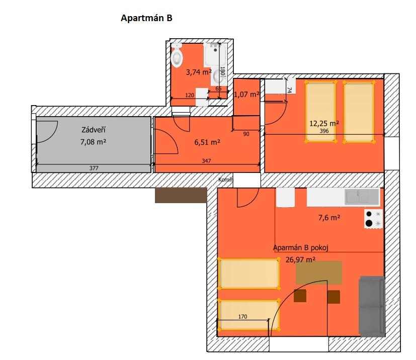 Apartmán B nákres